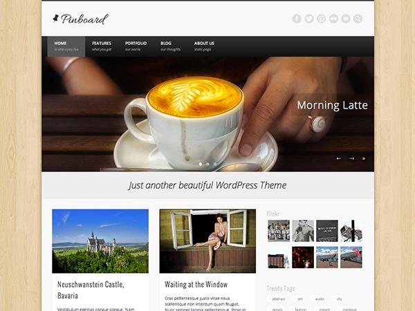 Pinboard personal blog WordPress theme