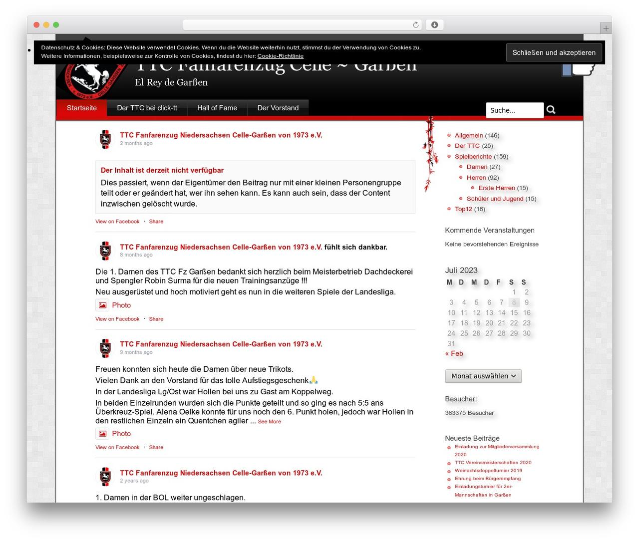 Stardust WordPress theme - ttc-fanfarenzug.de