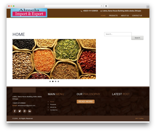 SKT Coffee template WordPress free - almelaexport.com