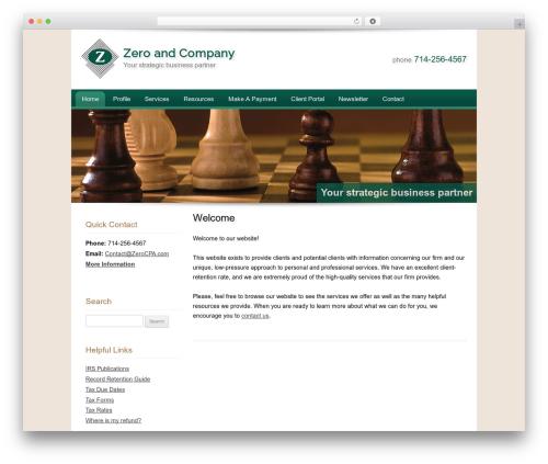 Customized company WordPress theme - zerocpa.com