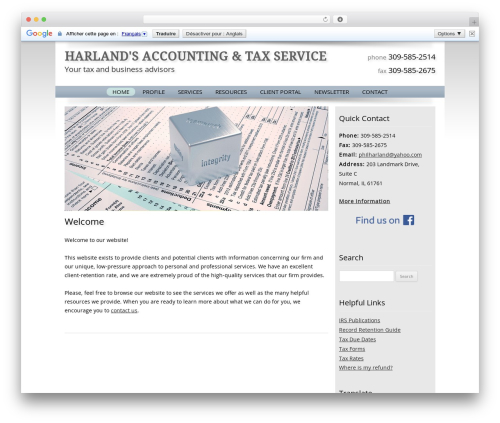 Customized WordPress template for business - harlandstax.com