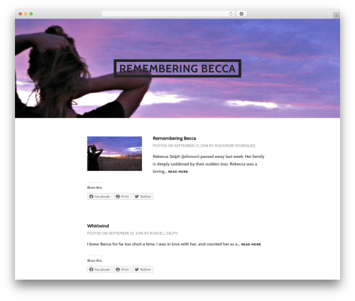 Argent WordPress theme - rememberbecca.com