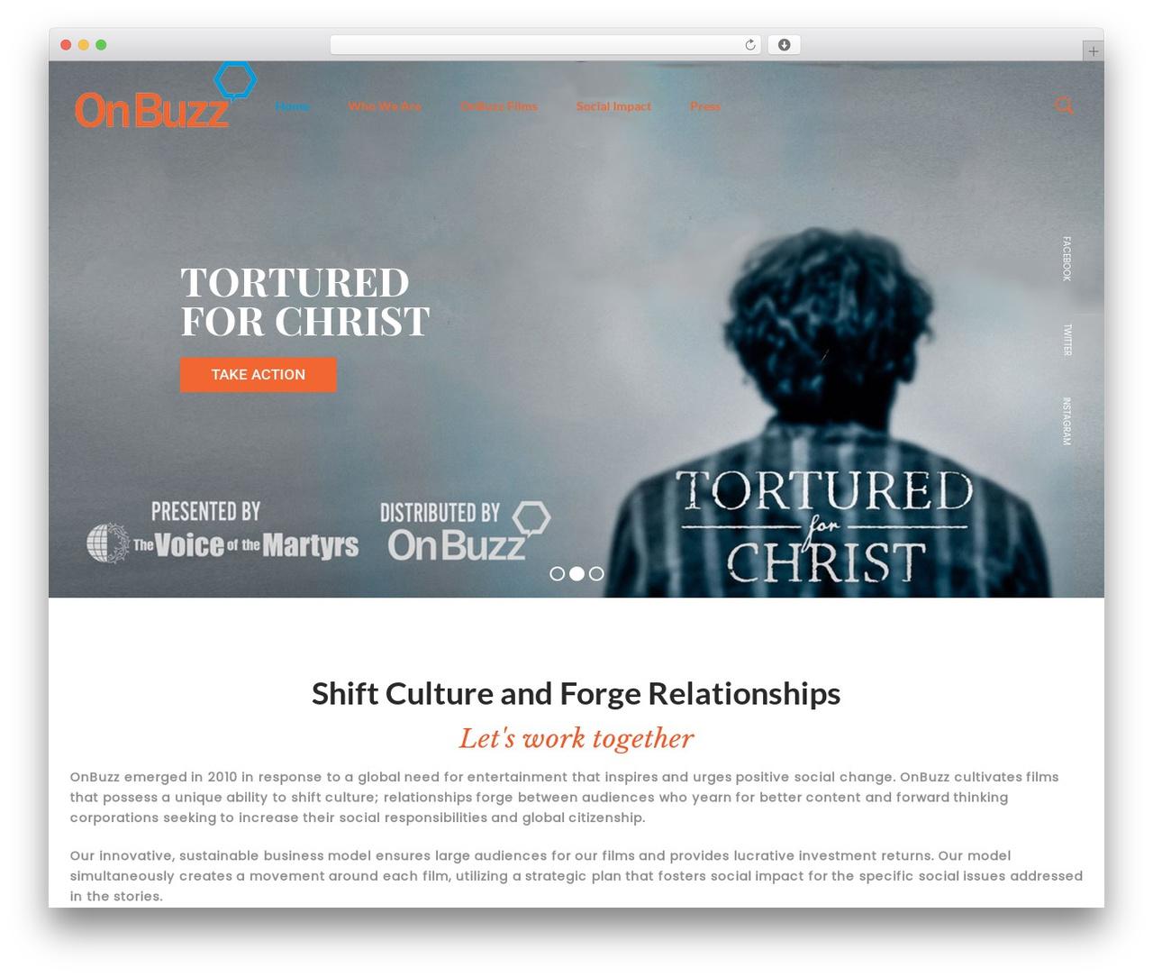 WordPress theme filmic - onbuzz.com