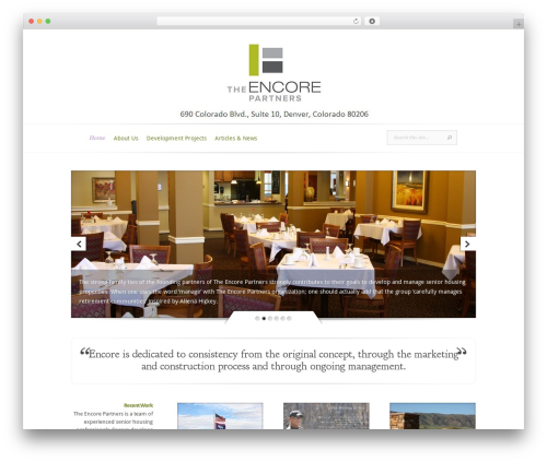 Evolution WordPress theme - theencorepartners.com