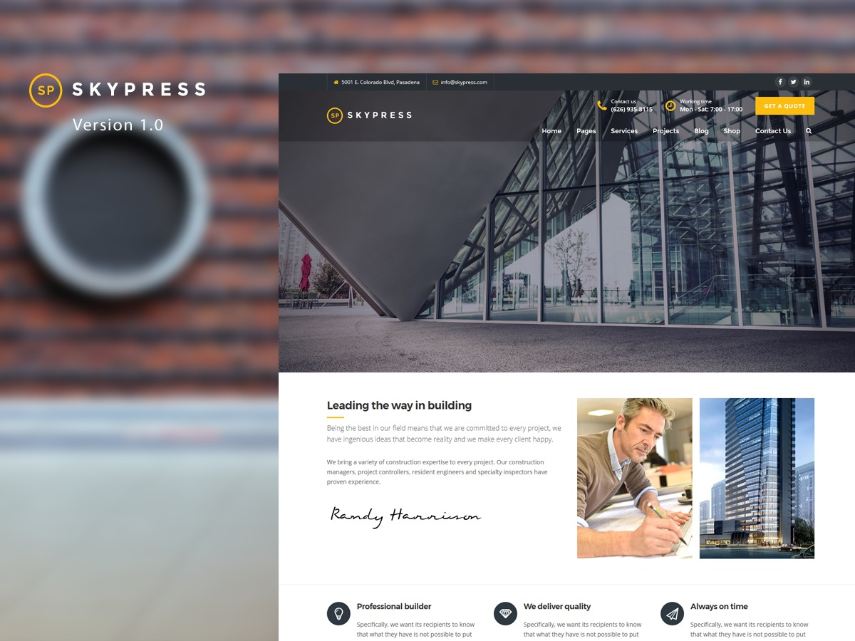 WordPress website template Skypress
