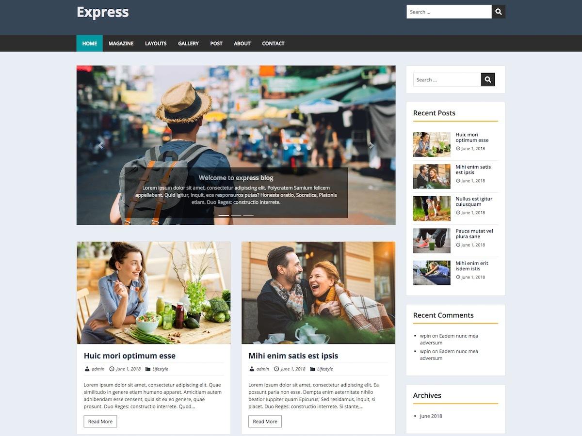 Express WordPress template for photographers