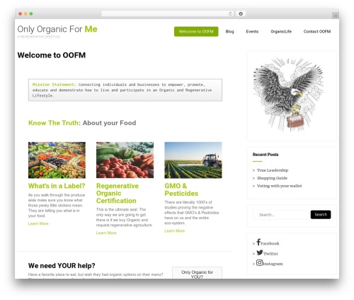 WP template Eco Friendly Lite - onlyorganicforme.com