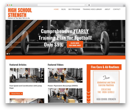 Caroline best WordPress template - highschoolstrength.com