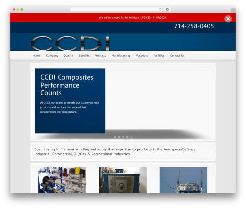 Modular WordPress page template - ccdicomposites.com