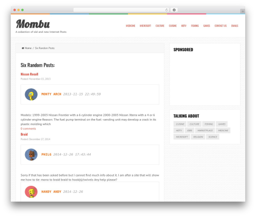 LiveBlog free WordPress theme - mombu.com