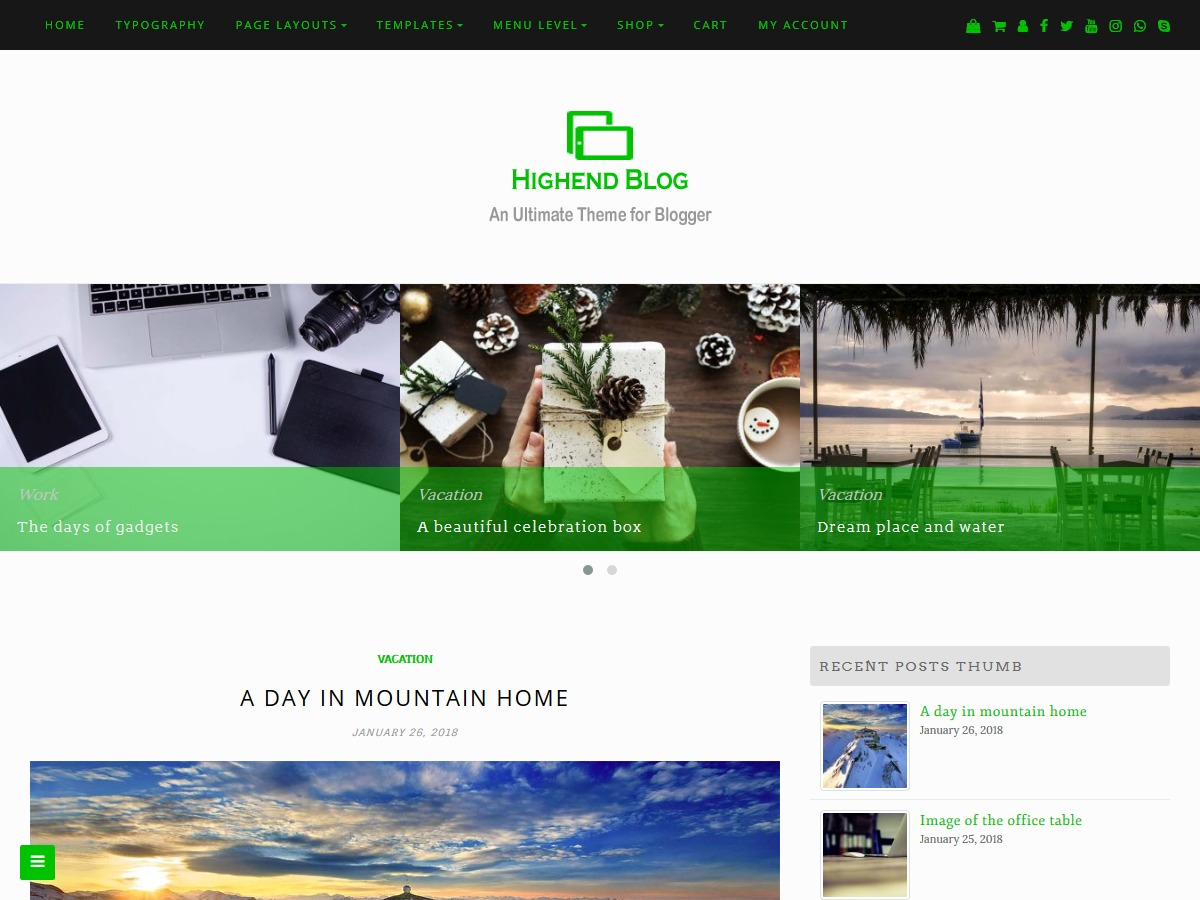 Highend Blog WP landing page