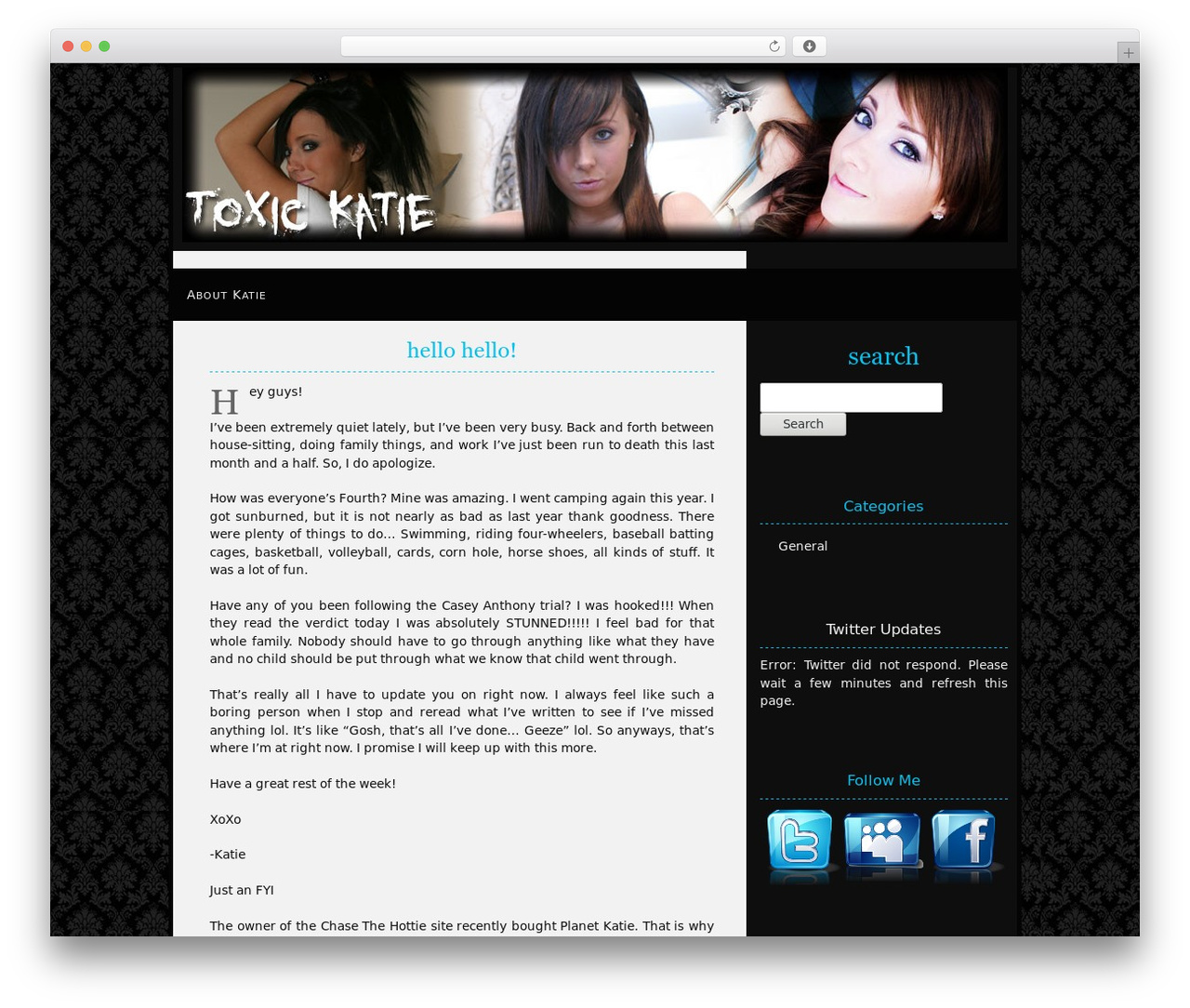 Damasking WordPress template - toxickatie.com/blog