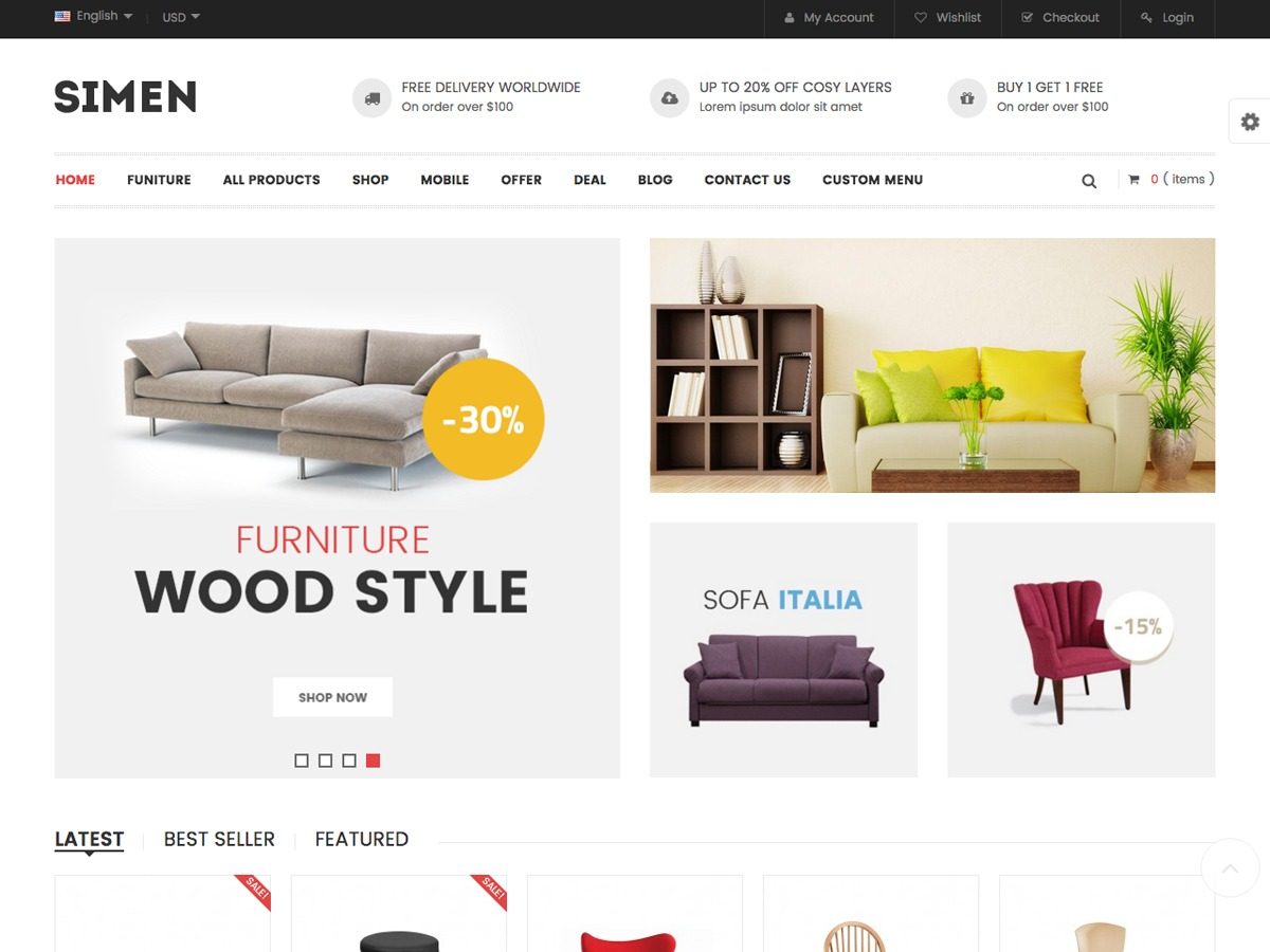 snssimen WordPress ecommerce theme