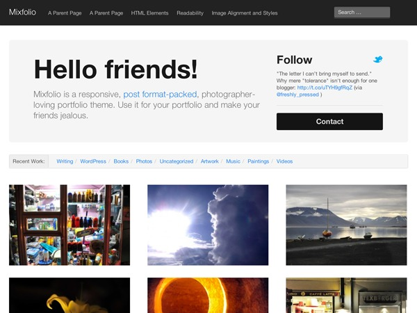 Mixfolio-lize personal WordPress theme