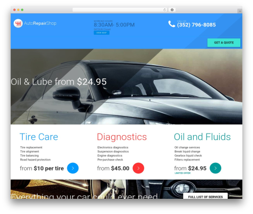 AutoRepair WordPress theme - sheleyautomotive.com