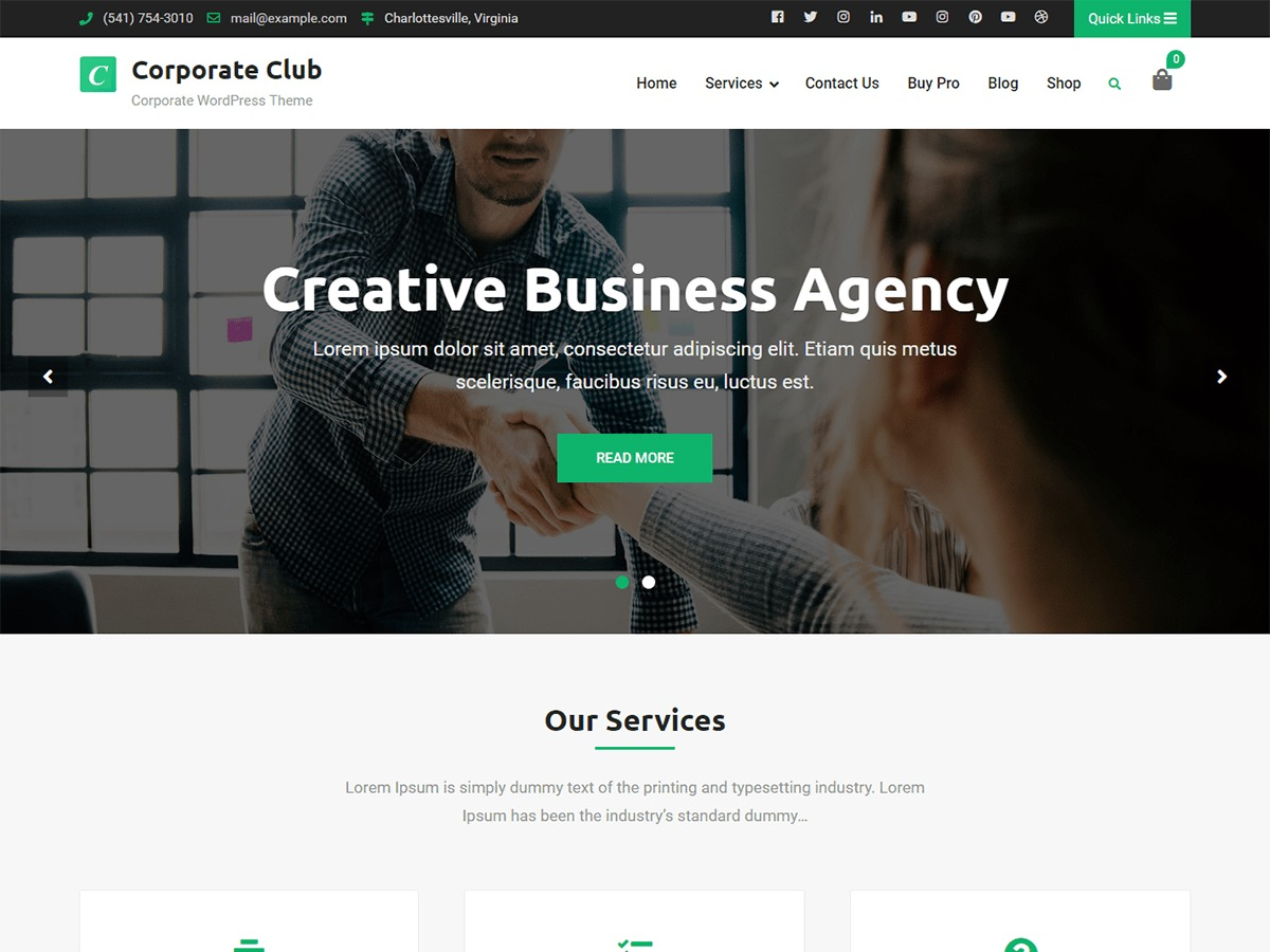 Corporate Club WordPress shop theme