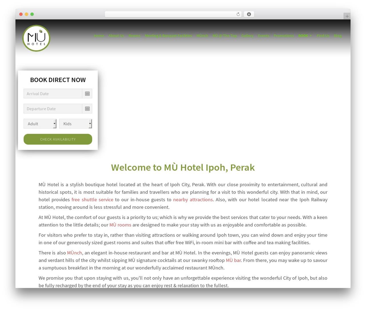 Sydney WordPress hotel theme - muhotel.com