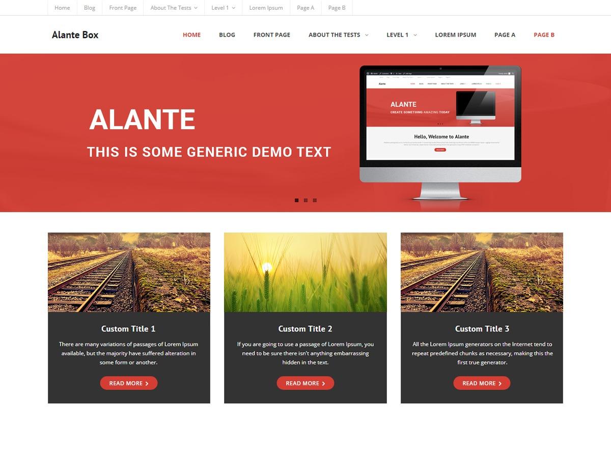 Alante Boxed theme WordPress portfolio