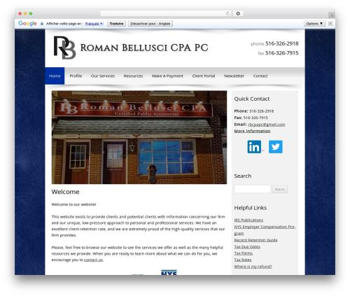 Customized company WordPress theme - romanbelluscicpa.com