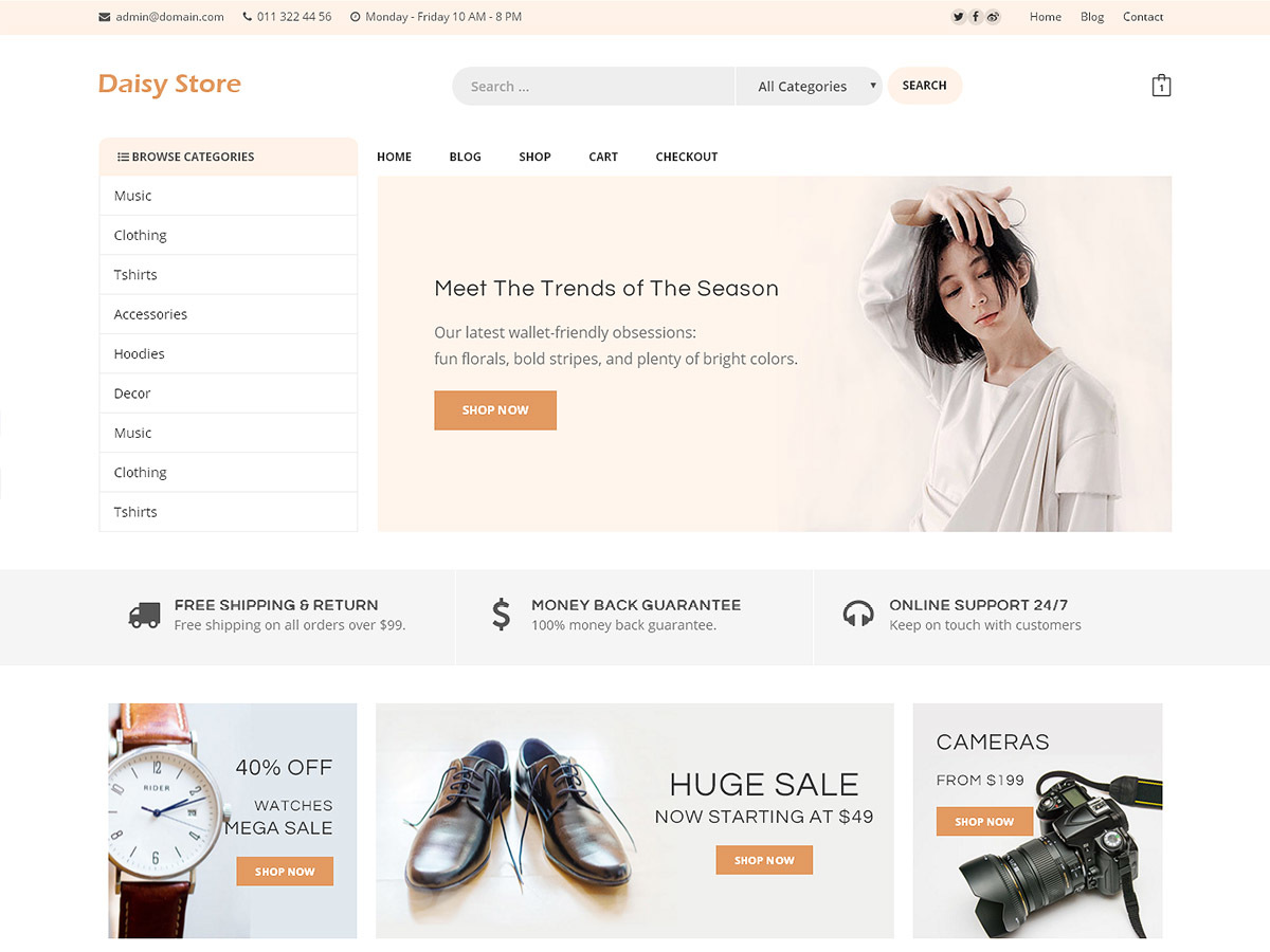 Daisy Store WordPress store theme
