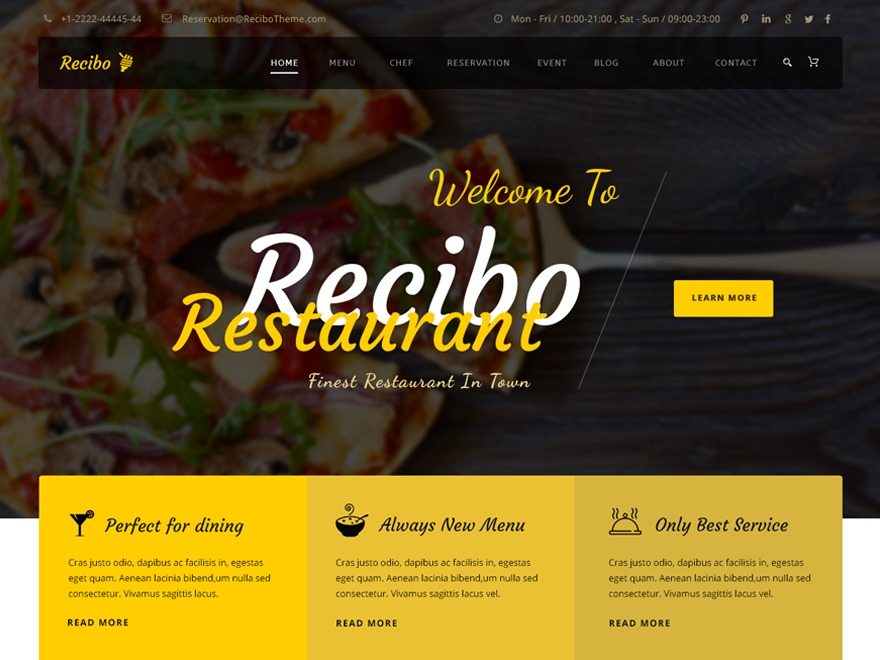 Best WordPress template Recibo