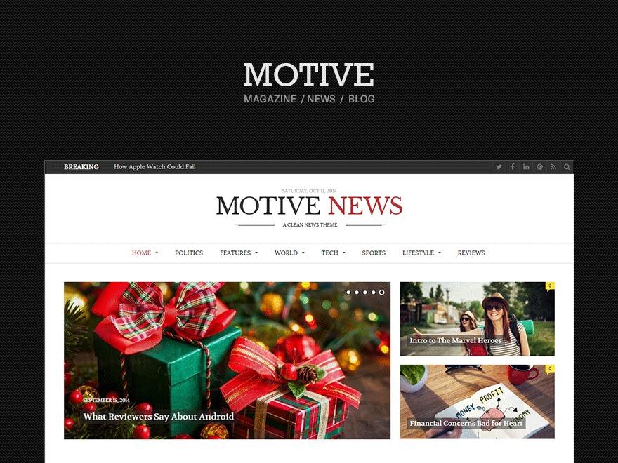 Motive (shared on wplocker.com) WordPress theme design