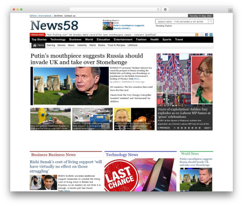 Online News Portal WordPress news template - news58.com