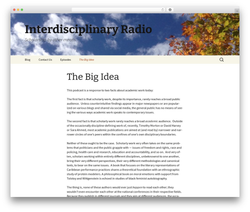 Twenty Thirteen best free WordPress theme - interdisciplinaryradioshow.com