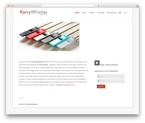 Divi WordPress theme - kerrywhistles.com