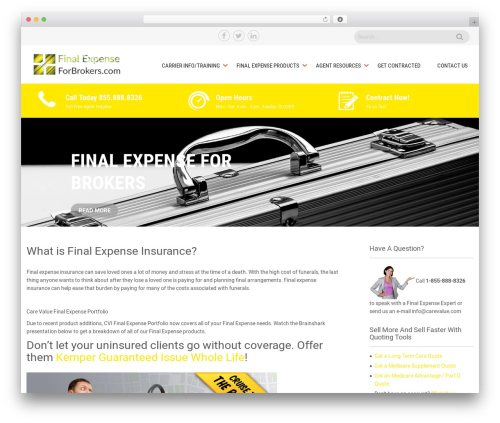 Sanitorium best WordPress template - finalexpenseforbrokers.com