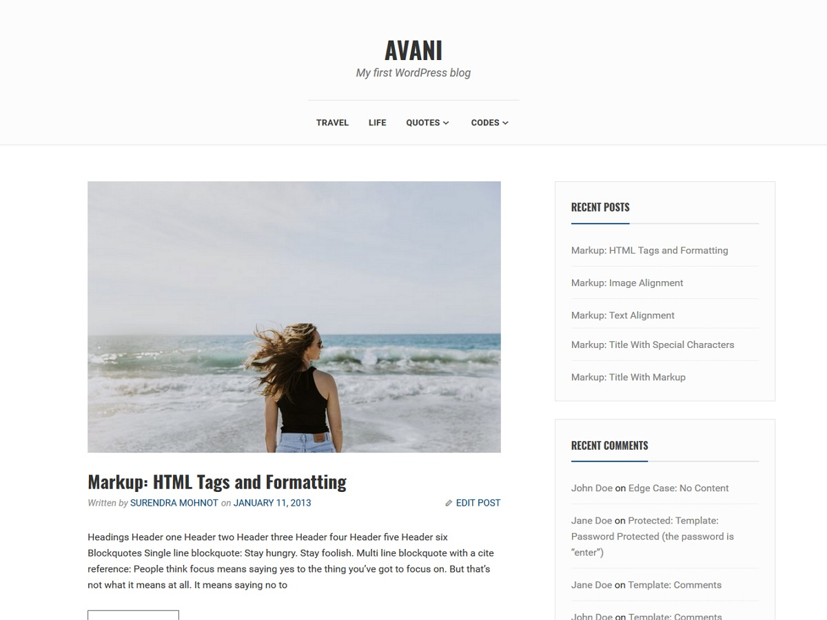 Avani Child WordPress blog template