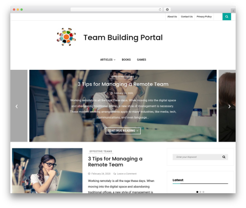 Vihaan Blog Lite WordPress blog template - teambuildingportal.com
