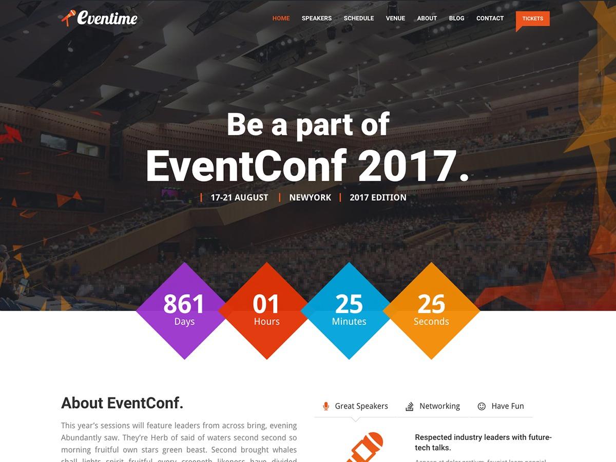 Best WordPress template Eventime