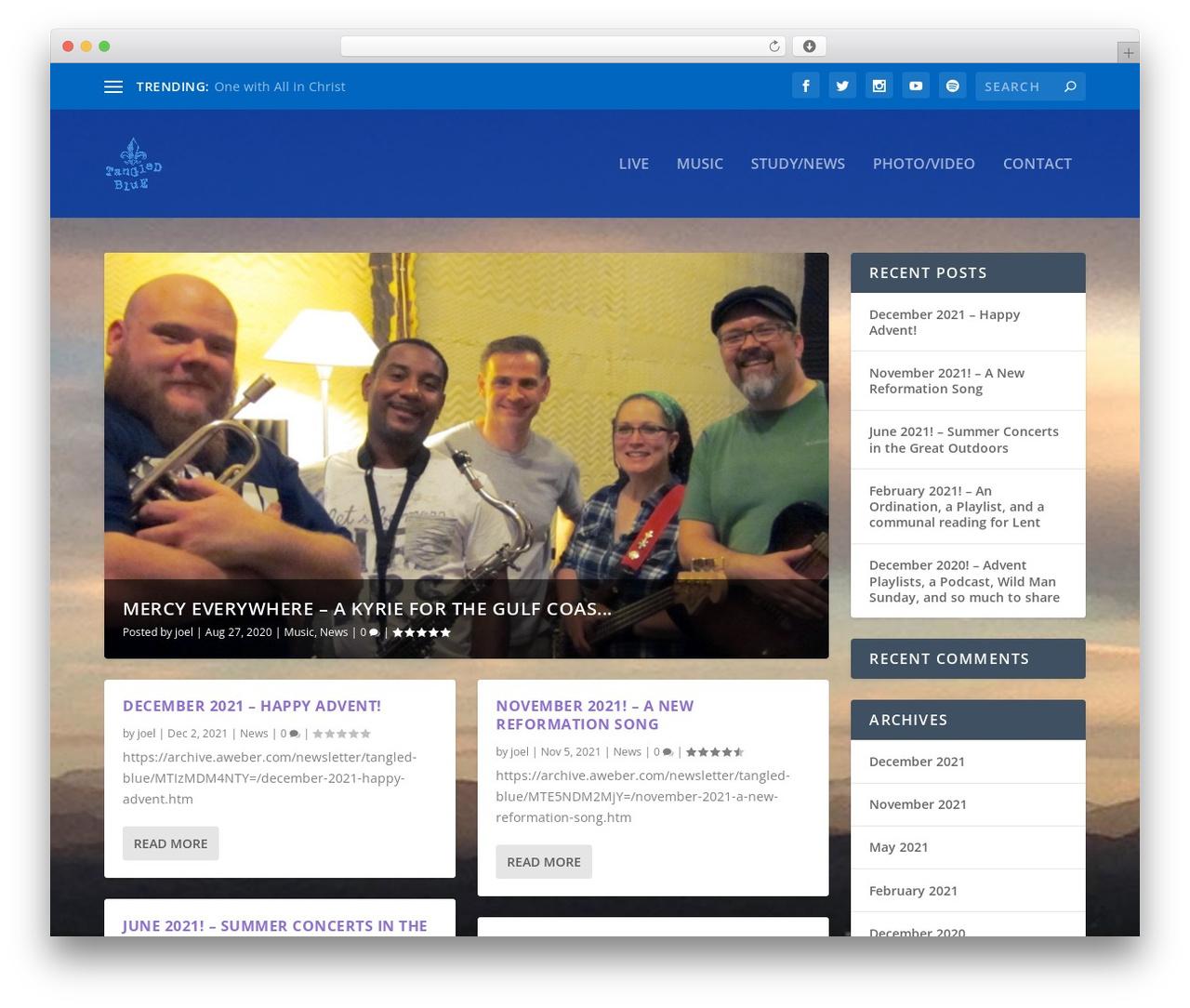 Extra WordPress template - tangledblue.com