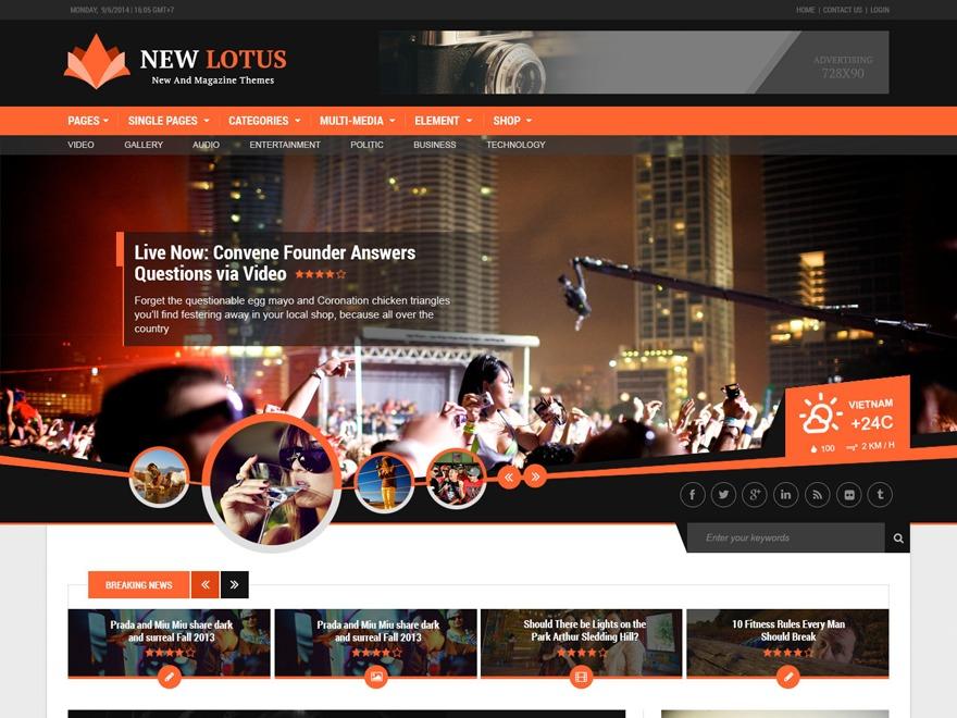 New Lotus WordPress news theme