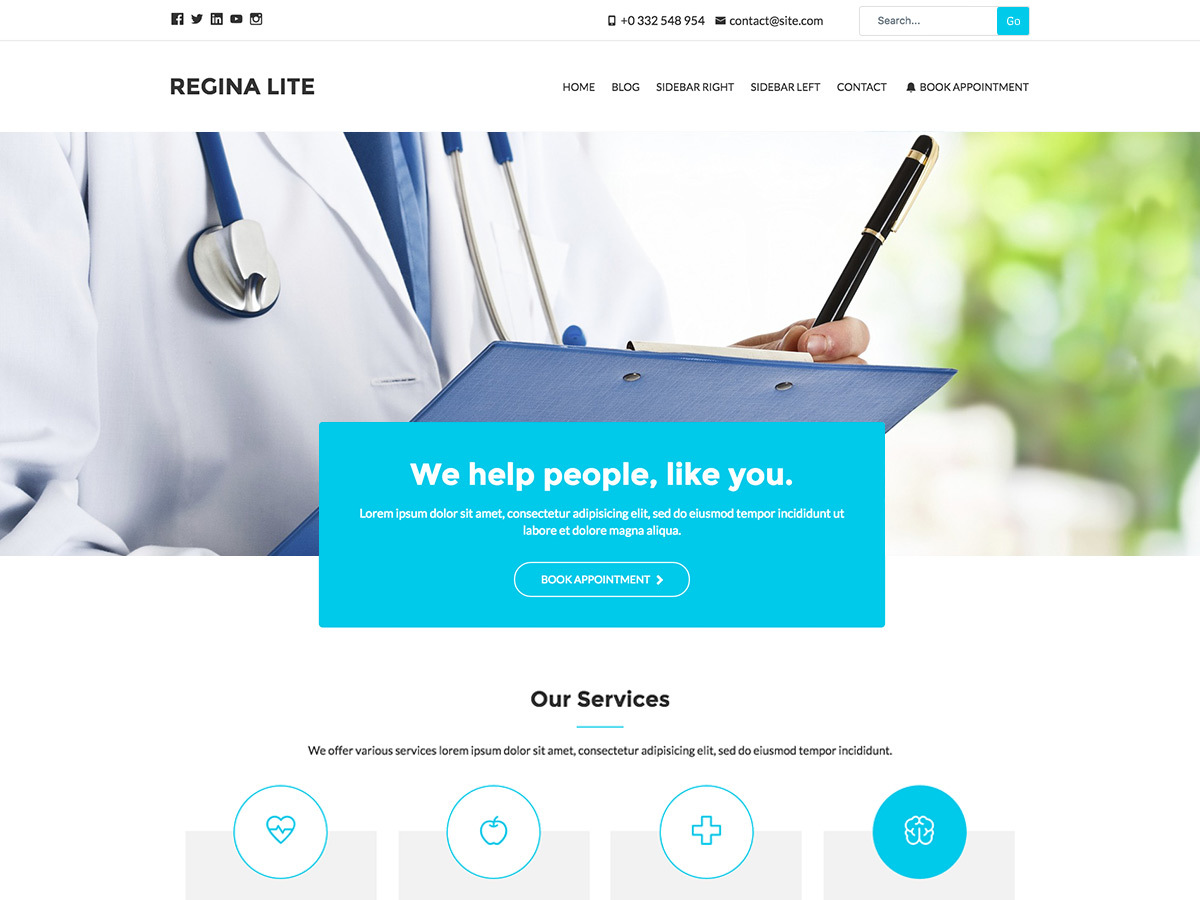 Regina Lite medical WordPress theme