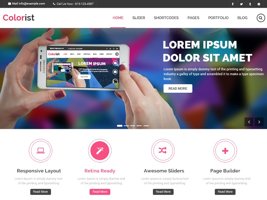 Best WordPress template Colorist Child