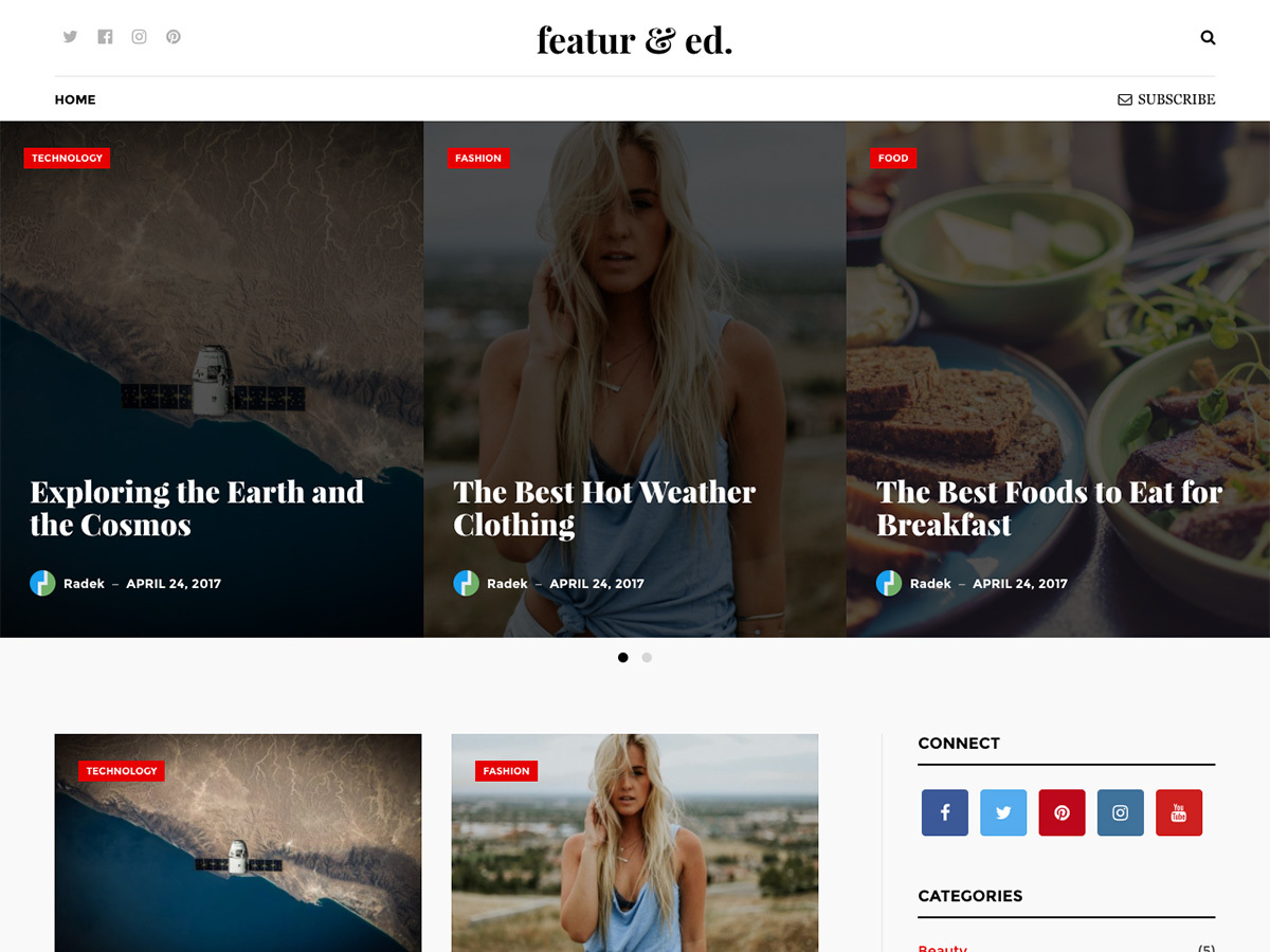 Featured company WordPress theme