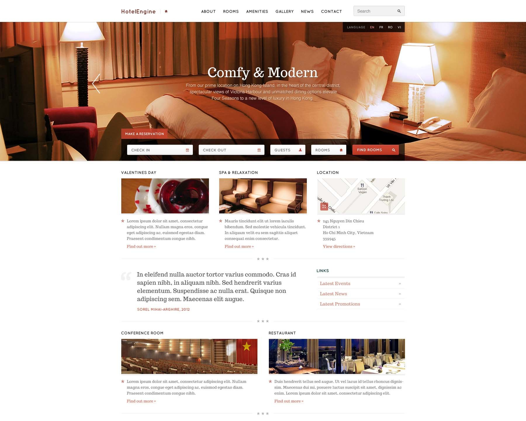 HotelEngineComfy best hotel WordPress theme