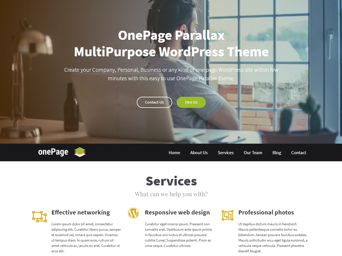 OnePage Parallax template WordPress free
