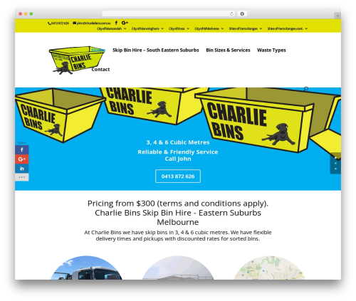 Divi WordPress theme - charliebins.com