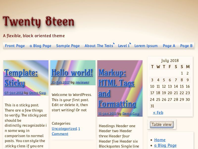 WordPress website template Twenty8teen