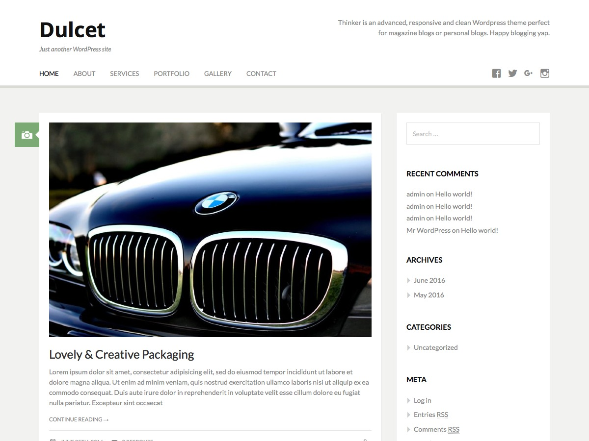 Dulcet Child WordPress page template