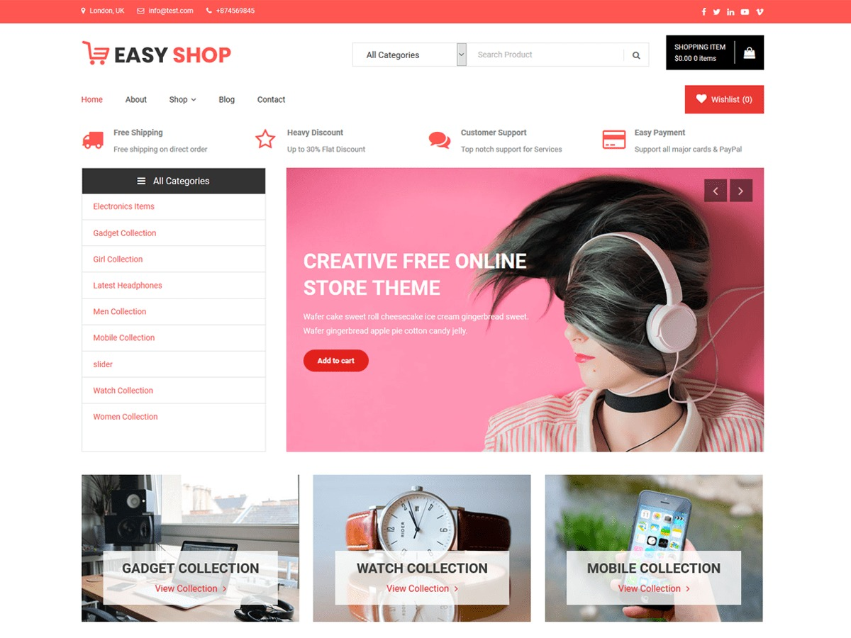 Easy Shop WordPress ecommerce template