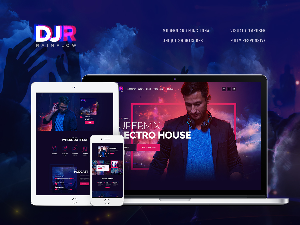 DJ Rainflow WordPress blog template