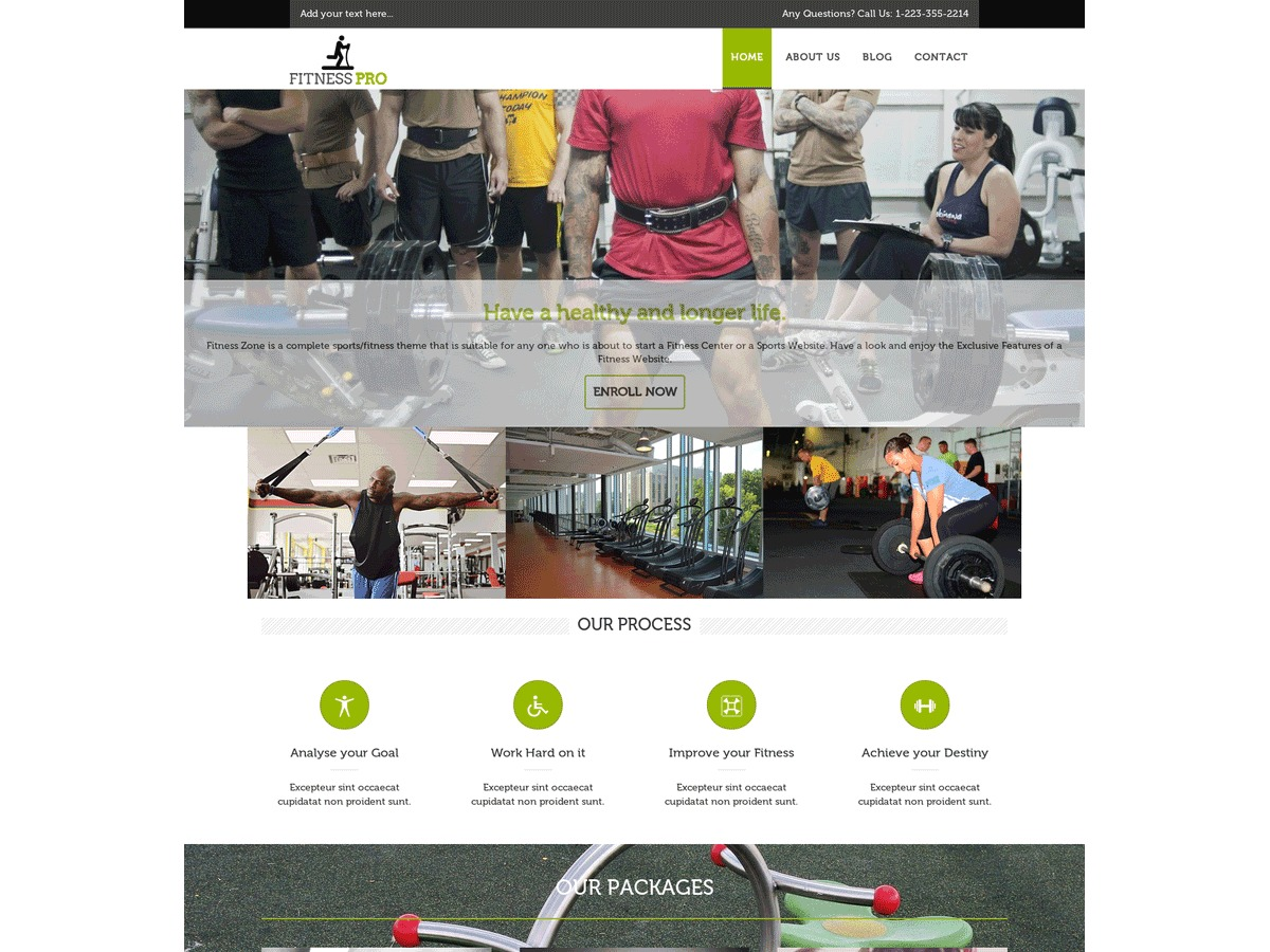 Fitness Pro gym WordPress theme