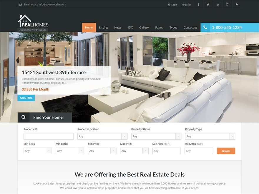 RealHomes Theme real estate template WordPress
