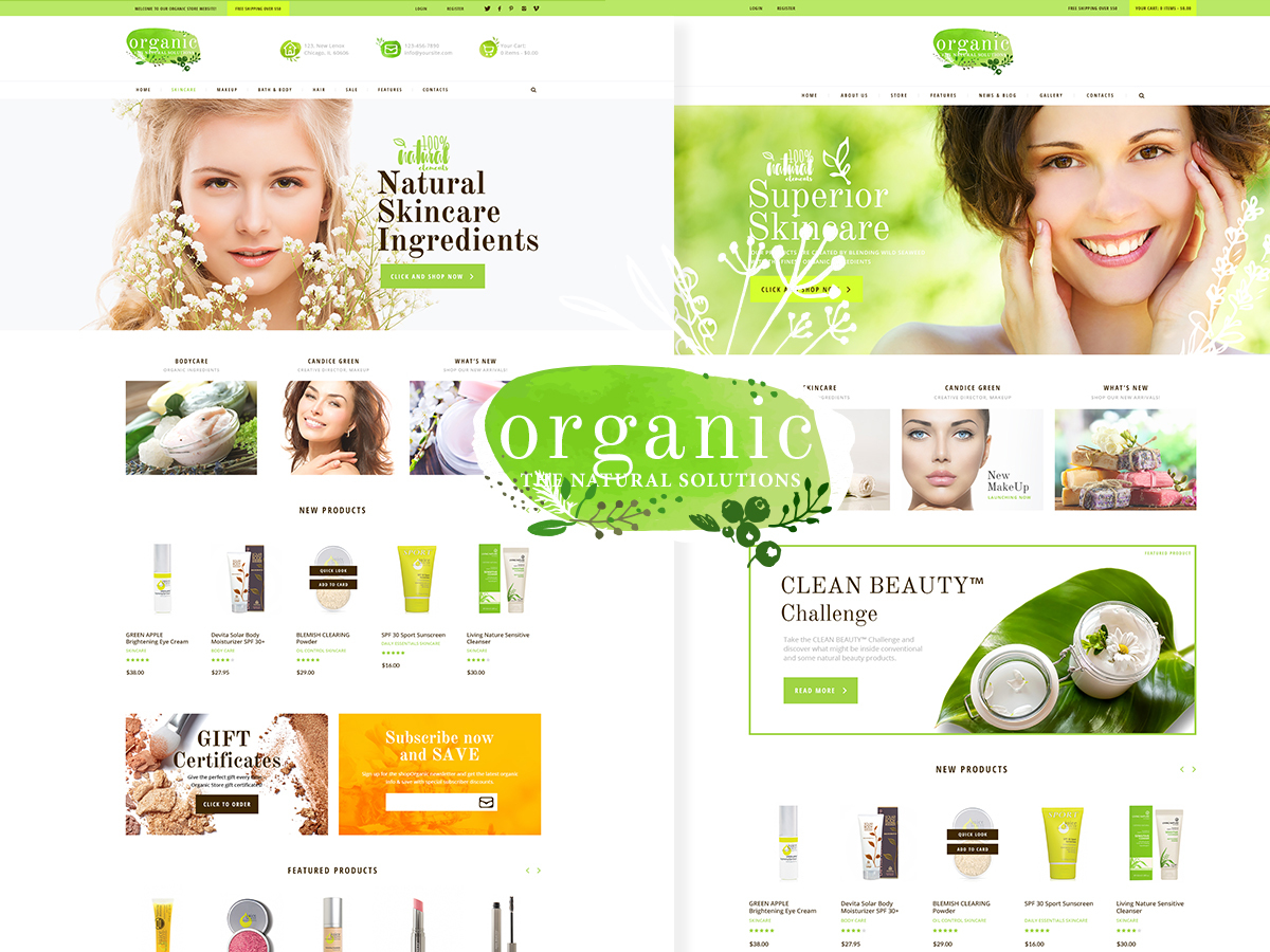 Template WordPress Organic Beauty