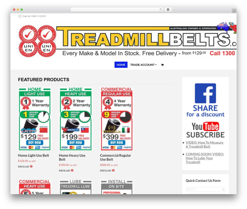 Theme WordPress PressCore - treadmillbelts.com.au