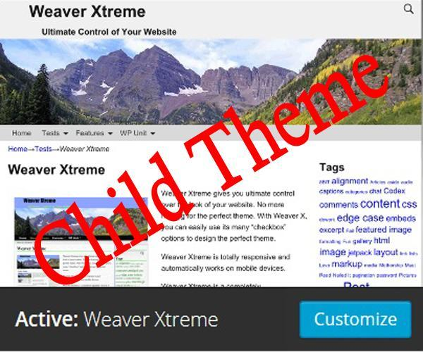 Weaver Xtreme Child Demo WordPress website template